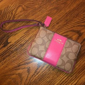 Coach brown and pink wristlet